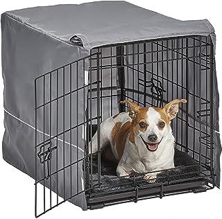 مجموعة أقفاص الكلاب ذات الباب المزدوج من نيو وورلد | تحتوي مجموعة قفص الكلاب على بابين، سرير للكلب الرمادي المطابق وغطاء ل...
