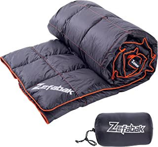 Camping Down Blanket with European standard 90% down blend & Puffy 600 Fill Power Waterproof and Warm Duck Down Blanket for Camping Travel Hiking