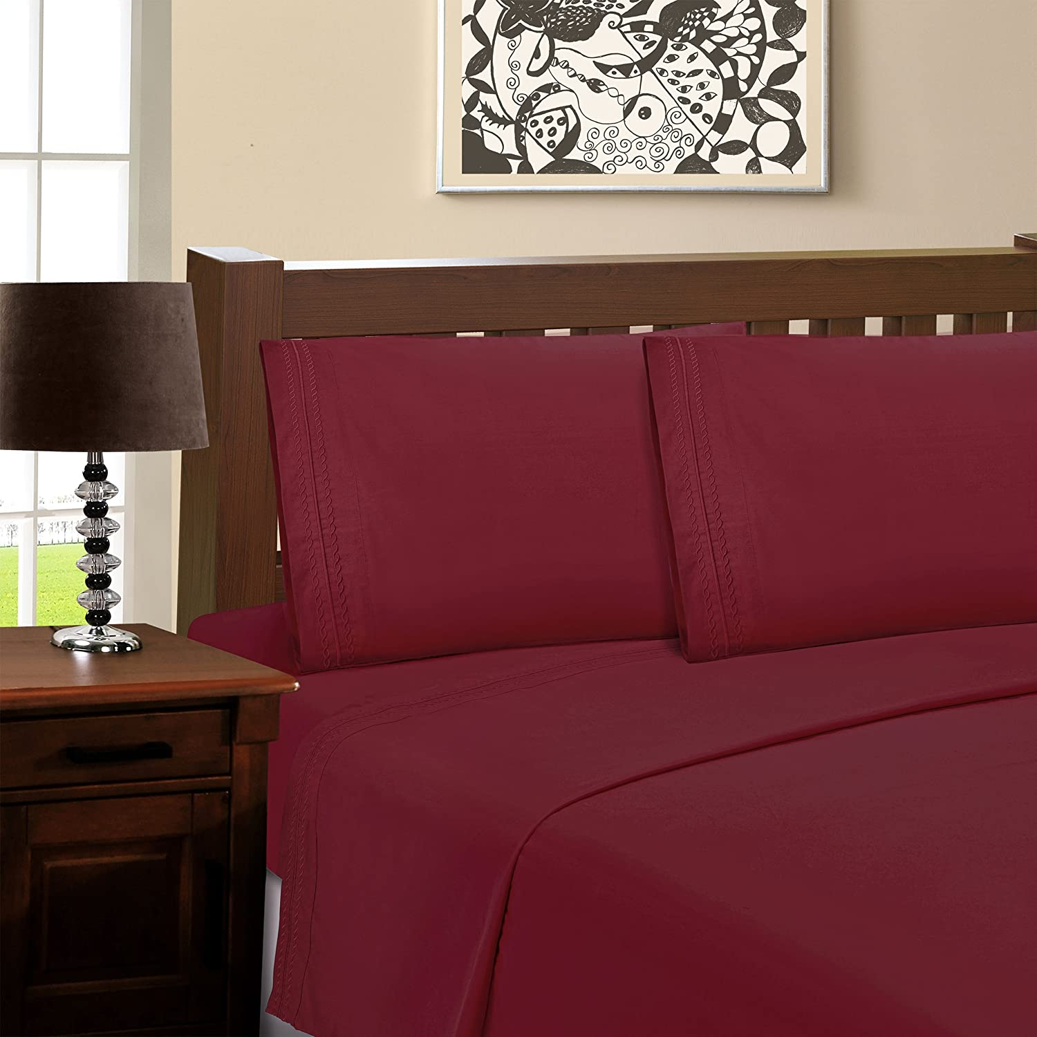 New item SUPERIOR Ultra-Soft All stores are sold Microfiber Sheet Set Cal King Burgundy -