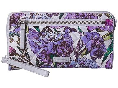 Vera Bradley Iconic RFID Front Zip Wristlet (Lavender Meadow) Wristlet Handbags