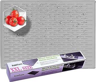 BasicForm Alfombrilla Escurreplatos Silicona para Encimera Cocina XXL 56.5x43.2x0.35cm (Gris)