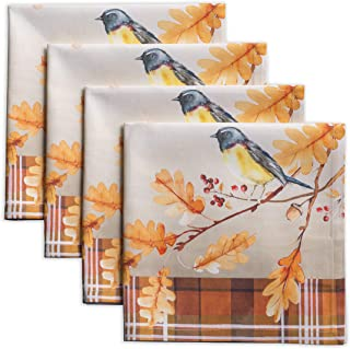 Maison d' Hermine Oak Leaves 100% Cotton Set of 4 Napkins 20 Inch by 20 Inch. Perfect for Thanksgiving and Christmas