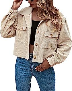 Women's Fashion Cropped Button Down Corduroy Shirt...