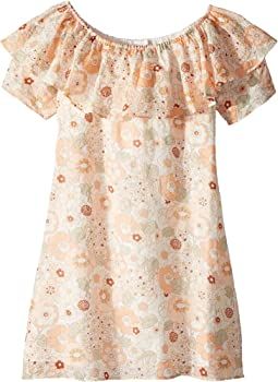Flower Print Ruffle Dress (Big Kids)