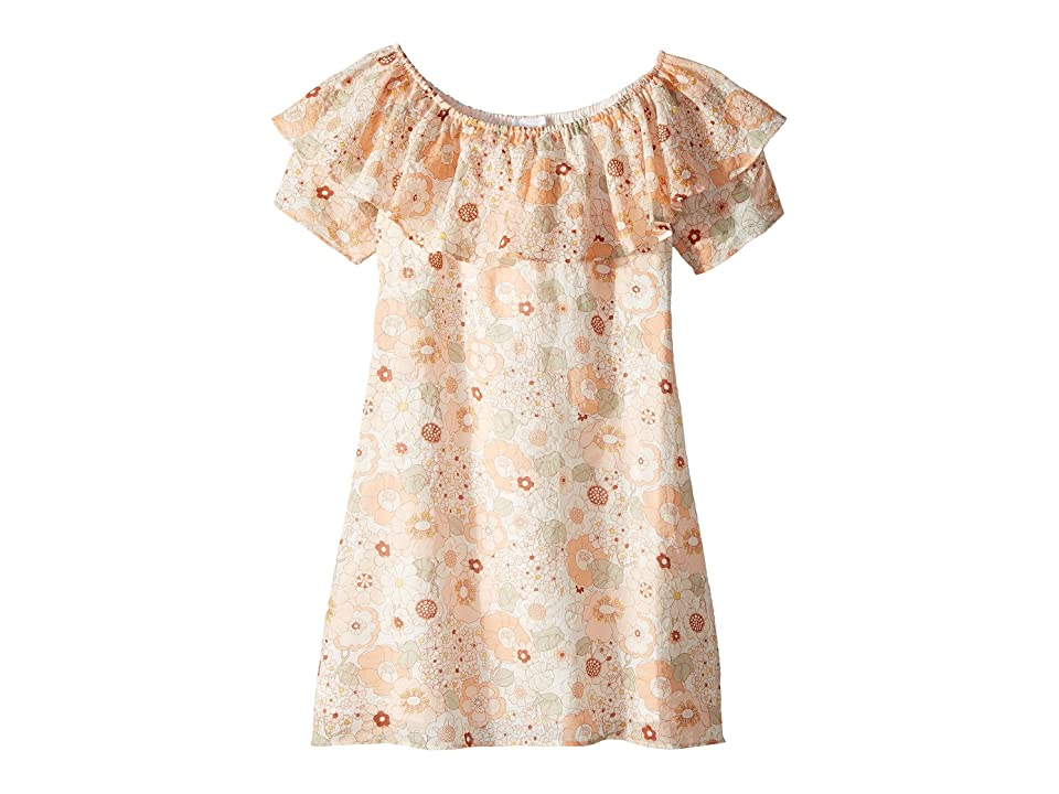 Chloe Kids Flower Print Ruffle Dress (Big Kids) (Rose Khaki) Girl