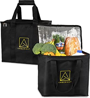 Insulated Reusable Grocery Delivery Bags by Amberight - Extra Large Cooler Hot Food Storage Tote - Commercial Zipper Lid and Padded Handles - 2 Pack Perfect for Shopping Lunch Car Beach Travel Camping