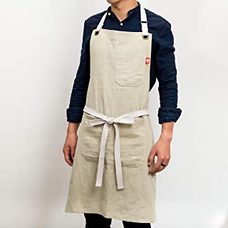EJOY Premium Quality Linen Apron | Mens and Womens Linen Apron | Adjustable with Pockets | Kitchen – Chefs - Florists – Catering | Light Brown