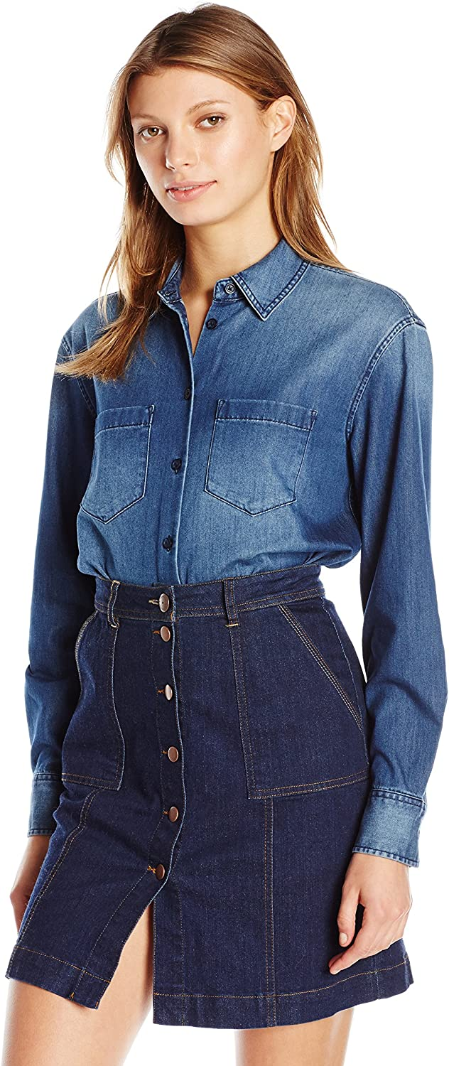 AG Adriano goldschmied Womens Hartley Clean Shirt with Pockets Blouse