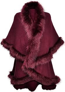 Women Fine Knit Open Front Faux Fur Trim Layers Poncho Cape Cardigan Sweater
