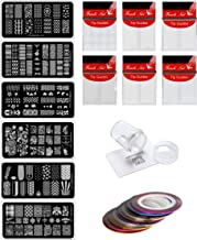 Store2508® Nail Stamping Kit SET A With 6 Rectangular Image Plates, Clear Jelly 3.8 Cm Stamper& Scraper, Nail Art Tip Guides & Nail Striping Tapes (SET A)