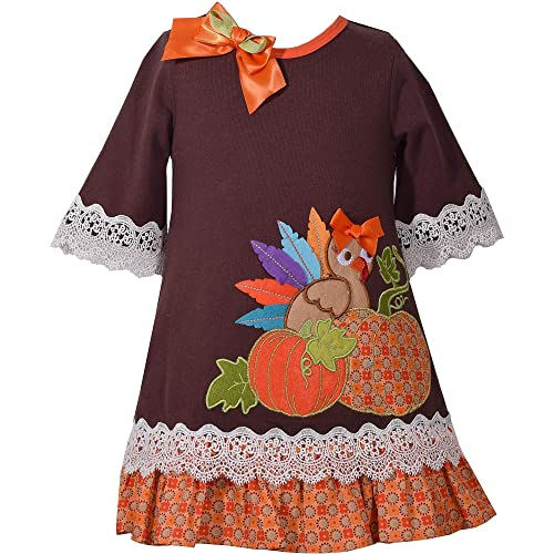 79694033b06 Bonnie Jean Girls Turkey Pumpkin Appliqued Mixed Knit Print Dress