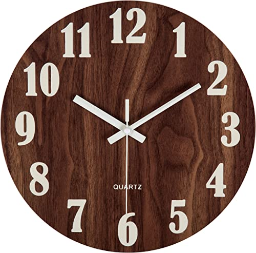 """new arrival Jomparis 12"""" Night Light Function Wooden Round Wall Clock Vintage Rustic online Country Tuscan Style for Kitchen Bedroom Office lowest Home Silent & Non-Ticking Large Numbers Battery Operated Indoor Clocks sale"""