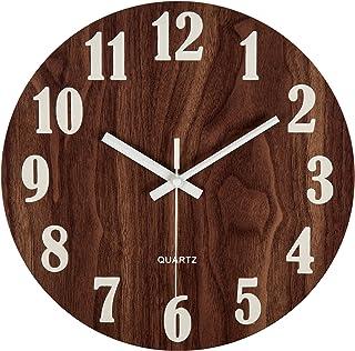 Reloj de Pared Luminoso de Reloj de Pared de Madera con función de luz Nocturna DE 30cm,vintage números romanos diseño rústico Country estilo Toscano Madera reloj de pared redondo decorativo