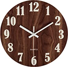 """jomparis 12"""" Night Light Function Wooden Wall Clock Vintage Rustic Country Tuscan Style for Kitchen Office Home Silent & N..."""
