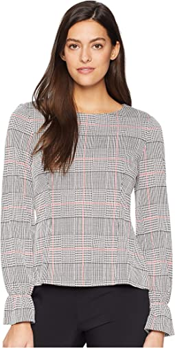 Long Sleeve Ruffle Cuff Knit Plaid Blouse