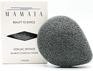 MAMAIA 100% All Natural Konjac Facial Sponge, Infused with Bamboo Charcoal, Black, Excellent for Face and Body Exfoliating...