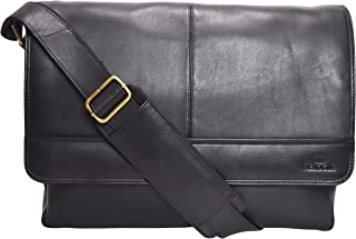 Genuine Leather Messenger Bag for Men and Women - 14 inch Laptop Bag for College Work Office by LEVOGUE (BLACK SUPER NAPPA)