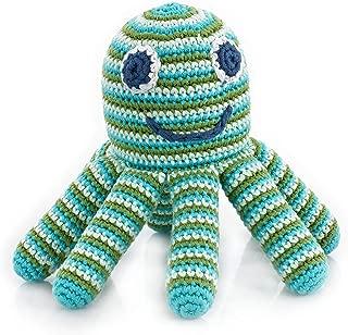 Pebble | Handmade Octopus Baby Rattle—Green Striped | Ocean | Beach | Coastal | Crochet Baby Toy | Fair Trade | Machine Washable