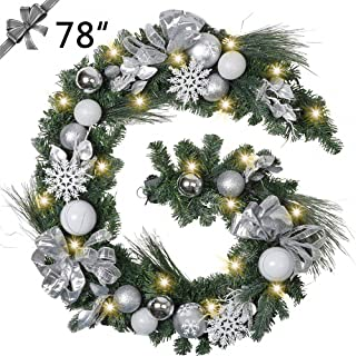 TFWell Christmas Garland with Lights, Pre-Lit 78 Inch Silver White Christmas Door Garland, Decorative Garland with Artificial Spruce, Berries, Christmas Ball Ornaments