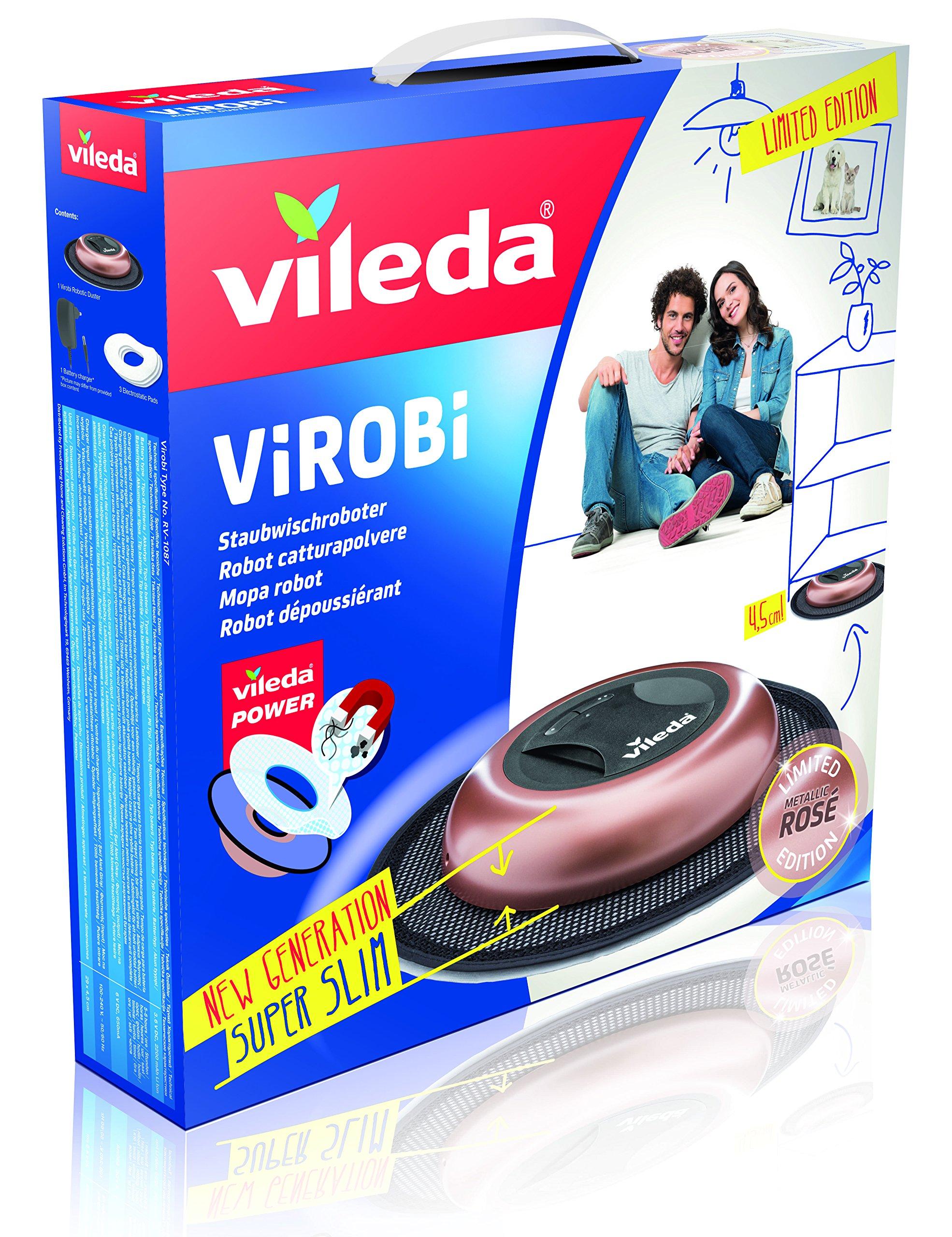 Vileda Virobi Slim - Robot limpiador mopa autónomo, color rose + 136038 Gamuza de Recambio para Robot Limpiador, Pack de 20, Blanco: Amazon.es: Hogar
