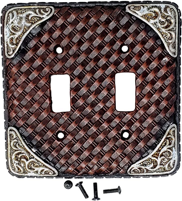 Rainbow Trading RA 3705 Woven Leather Decorative Double Switch Plate Cover