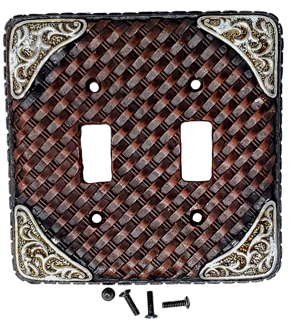 LEATHER DOUBLE SWITCH PLATE COVER