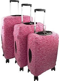 Containers By Aline- Funda protectora para maletas de viaje de lycra elástica en 3 tamaños universales de maletas antipolvo y anti rayaduras - Forro para equipajes - Cubierta para equipajes - Color Rosa Jaspeada, Tamaño Mediana