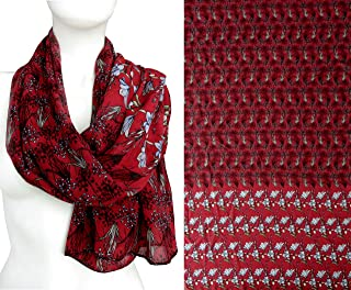 Red Black Fancy Oblong Soft Chiffon Neck Scarf for Women Lightweight Accessory Valentine's Mother's day Gift Neckerchief 56