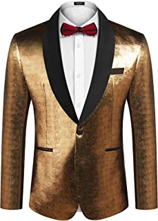 Men's Sequin Blazer Suit Jacket Christmas Slim Fit One Button Fashion Tuxedo Jacket for Dinner Party Wedding Prom