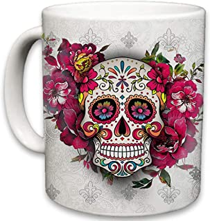 Sweet Gisele   Sugar Skull Ceramic Mug   Floral Print Coffee Cup   Day of the Dead Design   Beautiful Vivid Colors   Great Novelty Gift   White   11 Fl. Oz (White)