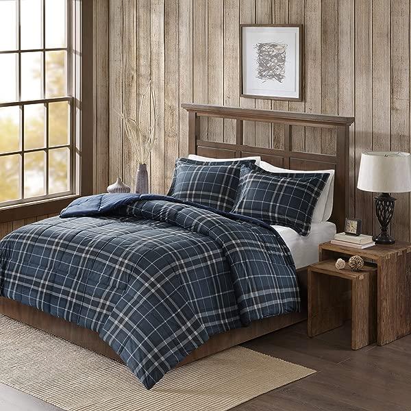 Woolrich Flint Cozyspun Down Alternative Hypoallergenic All Season Plaid Comforter Set Bedding Full Queen Size Navy