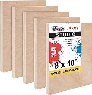 "U.S. Art Supply 8"" x 10"" Birch Wood Paint Pouring Panel Boards, Studio 3/4"" Deep Cradle (Pack of 5) - Artist Wooden Wall C..."
