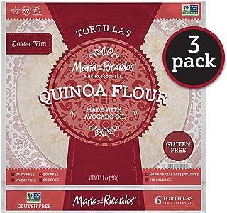 Maria & Ricardo's Quinoa Flour Gluten Free Tortillas. (3 Pack) Non GMO PV, Vegan, Kosher. Certified Gluten Free. 6 Tortillas per Pack