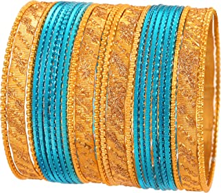 Touchstone New Metallic Colorful 2 Dozen Bangle Collection Indian Bollywood Textured Jewelry Special Large Size Bangle Bracelets Set of 24 in Gold Tone for Women