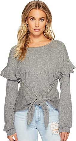 Long Sleeve Tie Front Knit Top w/ Ruffle Sleeves