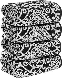 Utopia Towels 4 Pack Decorative Towels for Bathroom, Damask Jacquard Bath Towels, 27x54, Charcoal Grey