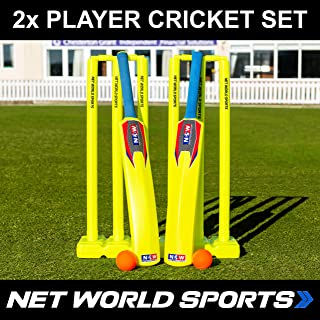 Net World Sports Backyard Cricket Sets | Kwik Cricket | Bats, Stumps, Bails, Balls and A Carry Bag [3 Sizes]