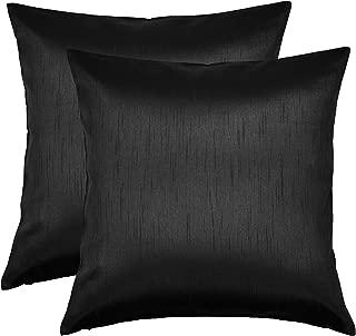 Aiking Home 26x26 Inches Faux Silk Square European Shams, Zipper Closure, Black (Set of 2)