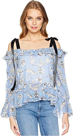 Ribbon Shoulder Ruffle Top