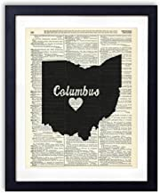 Columbus Ohio Love Upcycled Vintage Dictionary Art Print 8×10