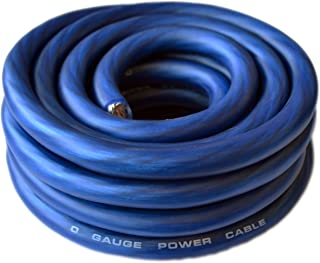 SoundBox 0 Gauge Blue Amplifier Power/Ground Wire 1/0 Ga Amp Cable, 25 Feet