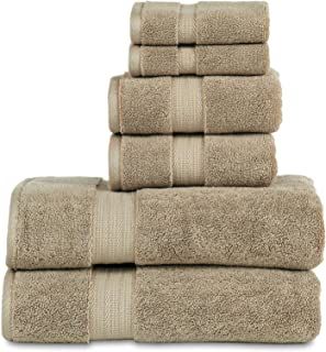 """800 GSM 6 Piece Towels Set, 100% Cotton, Premium Hotel & Spa Quality, Highly Absorbent, 2 Bath Towels 27"""" x 54"""", 2 Hand Towel 16"""" x 28"""" and 2 Wash Cloth 12"""" x 12"""". Taupe Color"""