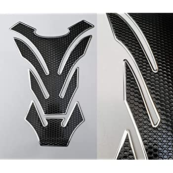 Tankpad Tankschutz Motorrad Carbon Optik Schwarz Silber Universal Chrom Chrome Auto