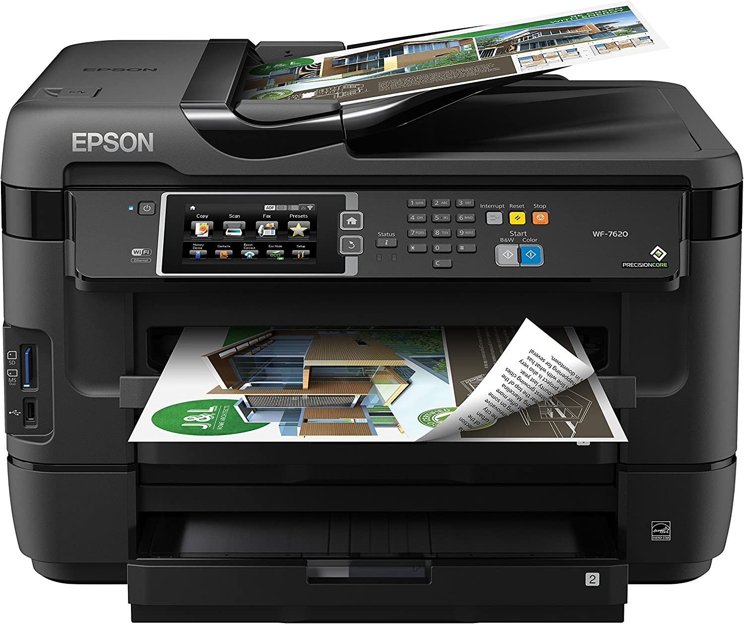 Epson WorkForce WF-7620 Wireless Color All-in-One Inkjet Printer with Scanner and Copier, Amazon Dash Replenishment Ready