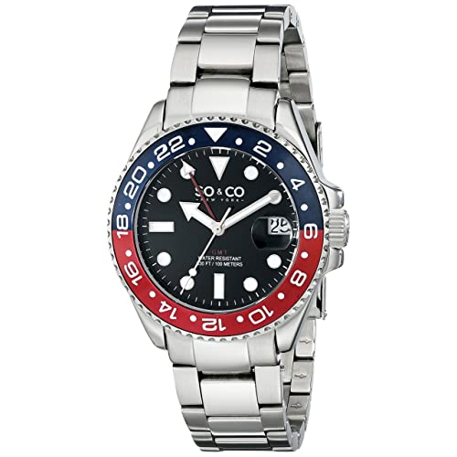 SO&CO New York Mens 5021.2 Yacht Club Stainless Steel Date Luminous Hands and Markers Blue and
