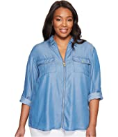 MICHAEL Michael Kors - Plus Size Denim Dog Tag Top