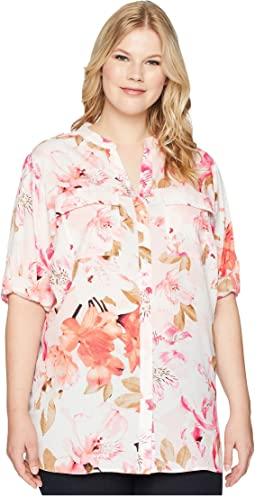 Plus Size Printed Roll Sleeve Blouse