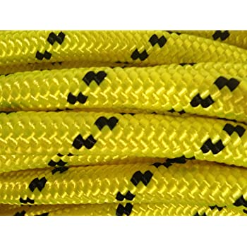 YuzeNet Double Braided Polyester Rigging Rope White//Green Strong Pulling Rope for Sailing Climbing Towing Hanging Swings 3//7 in x 50 ft