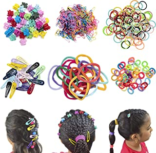 FIRST DAWN 650 pcs Hair Accessories for Girls, Cute Colorful Clips Ties Elastic Bands Barrettes. Ponytail Up-Do Braids, Fi...
