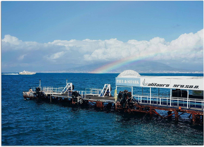KESS InHouse purple Hudson Rainbow Pier bluee White Dog Place Mat, 24  x 15